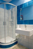 Bathroom. Blue bathroom in the flat Royalty Free Stock Photography