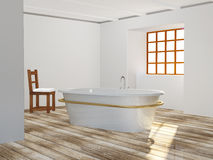 Bathroom. With wooden floor and chair Royalty Free Stock Photography