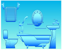 Bathroom. With bath, shower, bowl, toilet, towel drying and mirror, illustration Stock Photography