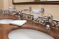 Bathroom. In the hotel closeup Stock Photography