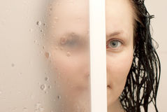 In the Bathroom. Women's portrait in the bathroom Stock Photography