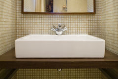 Bathroom. With wash-bowl and mirror Stock Image