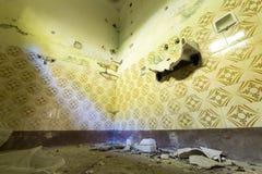 Bathroom in an abandoned school Stock Photos