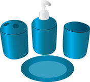Bathroom accessories. An illustration of bathroom accessories in blue Stock Photography