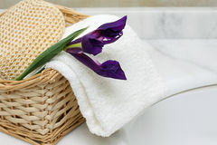 Bathroom accessories. Bath sponge, towel,  and flower iris Royalty Free Stock Photos