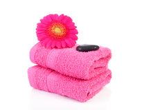 Bathroom accessories. Pink bathroom accessories with towel, stones and Gerber flower over white background Royalty Free Stock Image