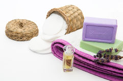 Bathroom accessories. And lavender soap in lila tones Royalty Free Stock Photos