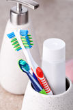 Bathroom accessories. Close up photo bathroom accessories Royalty Free Stock Image