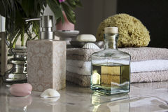 Bathroom accessories and pampering. Relaxing, still life Royalty Free Stock Image