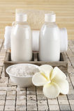 Bathroom accessories. Set of bathroom accessory on stone tile: frangipani-shaped soap, bath salt, shower gel, lotion, towel, loofah Stock Photo