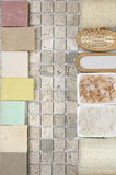 Bathroom accessories. Set of bathroom accessory on stone tile: soaps, bath salt, loofa. Top view point Royalty Free Stock Image