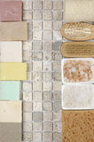 Bathroom accessories. Set of bathroom accessory on stone tile: soaps, bath salt, sponge, loofa. Top view point Royalty Free Stock Photography