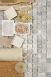 Bathroom accessories. Set of bathroom accessory on stone tile: soaps, bath salt, sponges, loofa, brushes. Top view point Royalty Free Stock Images