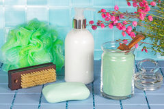 Bathroom accessories still life Stock Images