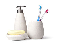 Bathroom accessories. On white background Stock Image