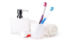 Bathroom accessories. On white background Stock Images