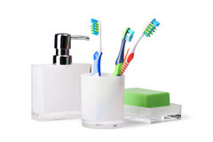Bathroom accessories. On white background Royalty Free Stock Images
