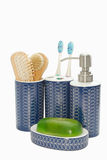 Bathroom accessories on white. Background Royalty Free Stock Photo