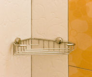 Bathroom aluminum shelf a useful accessories Royalty Free Stock Photos