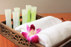 Bathroom amenities. In a Thai Spa Stock Photography