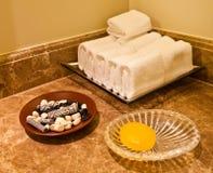 Bathroom Amenities. In a luxury hotel bathroom stock image