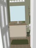 Bathroom at an angle with stylized accent objects Royalty Free Stock Photography
