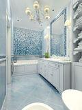 Bathroom art deco style. Long bathroom with a mix of tile and plaster light blue color. Mosaic wall and frame mirror. 3D render Royalty Free Stock Photography