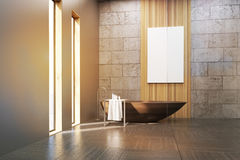 Bathroom in attic. Interior of a bathroom with narrow windows, wooden tub, concrete and gray walls and a large vertical poster hanging on a wooden panel. 3d stock illustration