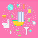 Bathroom and bath accessories vector illustration. Bathroom interior and accessories. Vector illustration for the background Royalty Free Stock Photo