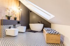 Bathroom with bath and toilet. Cozy bathroom in the attic with white bath and toilet Royalty Free Stock Images