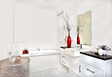 Bathroom with a bath tub and interior of modern house or hotel Stock Photo