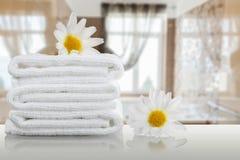 Bathroom. Towel shelf background luxury modern spa stock photo