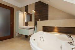 Bathroom with bathtub. Interior of contemporary bathroom with white bathtub Royalty Free Stock Image