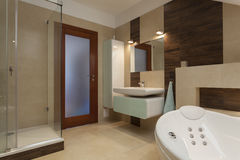 Bathroom. With bathtub and a glass shower Royalty Free Stock Photos