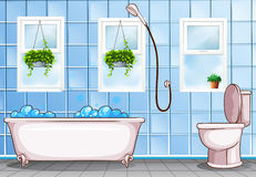 Bathroom with bathtub and toilet. Illustration Stock Image