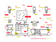 Bathroom with bathtub vector line art illustration. Bathroom with sink, bowl, bathtub vector line art illustration. Line graphic design of bathroom. Creative Stock Photo
