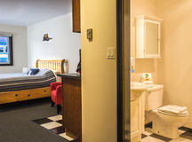 Bathroom and bedroom. Amenities used in a hotel such as a bathroom Royalty Free Stock Image