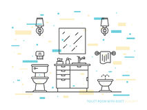 Bathroom with bidet vector line art illustration. Bathroom with sink, bowl, bidet vector line art illustration. Line graphic design of bathroom. Creative concept Stock Photo