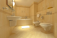 Bathroom with bidet and wc. Elegance bathroom interior with toilet and bidet Stock Image