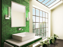 Bathroom with big window interior 3d Royalty Free Stock Photo
