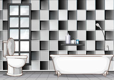 Bathroom with black and white tiles royalty free illustration