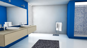 Bathroom Blue. Contemporary bathroom with modern design and furniture, colored in blue, maple and white, 3d rendering Royalty Free Stock Photography