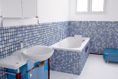 Bathroom blue Royalty Free Stock Image