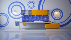 Bathroom in blue. Rendered illustration of a bathroom wall with modern interior in blue Stock Images
