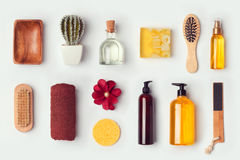 Bathroom and body care mock up template for branding identity design. View from above. stock photography