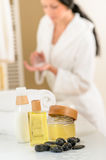 Bathroom body care products and towels close-up Stock Photo