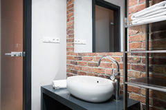 Bathroom With Brick Wall Royalty Free Stock Photos