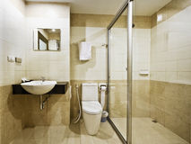 Bathroom in a budget hotel royalty free stock photos
