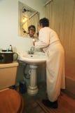 Bathroom chores stock images