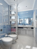 Bathroom in classic style, in blue colors Stock Images